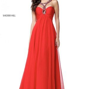Sherri Hill 51639 SZ 12 Red Chiffon Gown ❣️